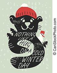 projeto paisagem, saudação, sazonal, cartão, inverno, urso