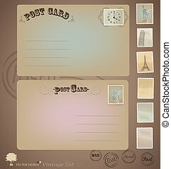 projetos, cartão postal, vindima, vetorial, stamps., set: