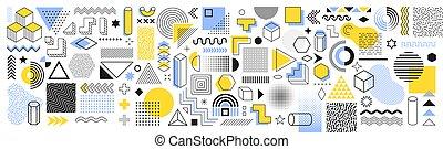 projetos, shapes., vetorial, halftone, vindima, trendy, memphis, 90s, elemento, gráfico, impressão, funky, ?, projeto fixo, tendências, cobrança, geomã©´ricas, retro, elements.