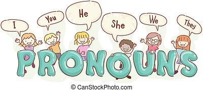 pronouns, crianças, stickman, língua, ilustração
