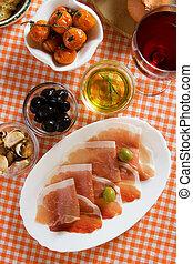 prosciutto, parma, aperitivo, di, italiano