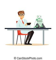 protótipo, testes, cientista, robô, engenheiro