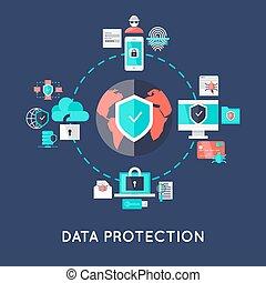proteção, sistema, desenho, internacional, dados
