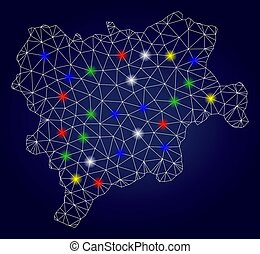 província, albacete, fio, resplendor, mapa, quadro, vetorial, luminoso, malha, manchas