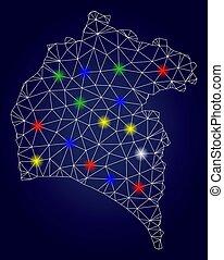 província, mapa, luz, manchas, 2d, luminoso, vetorial, huelva, malha