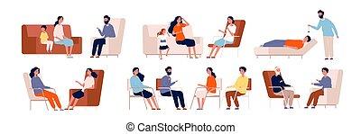 psychotherapy., consultar, caráteres, terapia, cobrança, adulto, conselheiro, vetorial, tratamento, torcida, grupo, família