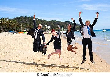 pular, 4, pessoas negócio