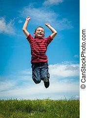 pular, alegre, criança, feliz