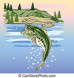 pular, baixo, lago