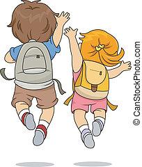 pular, desgastar, vista, costas, mochila, crianças