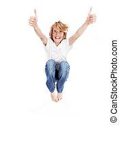pular, feliz, cima, criança, polegares