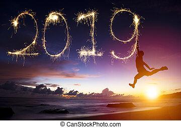 pular, homem, ano, novo, 2019., praia, desenho, feliz