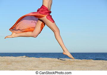 pular, mulher, pernas, praia, feliz