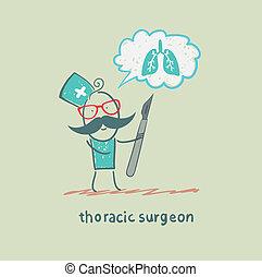 pulmões, thoracic, segurando, cirurgião, pensa, bisturi
