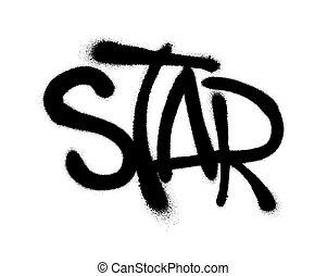 pulverizado, estrela, illustration., overspray, sobre, vetorial, graffiti, white., pretas, fonte