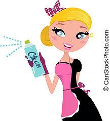 ?, pulverizador, limpeza, retro, empregada, dona de casa, francês