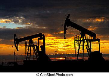 pump., indústria, óleo, equipamento