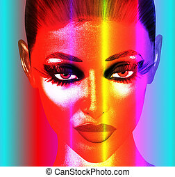 punk, coloridos, arte, rosto