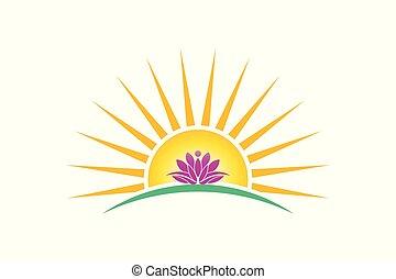 pureza, logotipo, planta, loto, pessoa, conceito, amanhecer, vetorial, image.