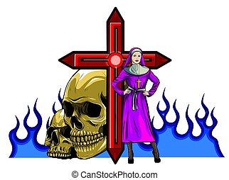 purgatory, fogo, vetorial, freira, personagem, caricatura