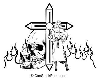 purgatory, freira, fogo, caricatura, personagem, vetorial
