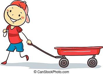 puxando, stickman, menino, vagão vermelho