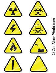 químico, jogo, aviso, signs.