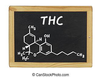 químico, quadro-negro, thc, fórmula