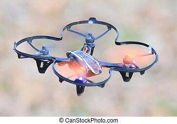 quadcopter, remoto, ar mid, zangão, controlado