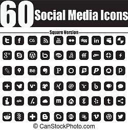 quadrado, ícones, mídia, 60, social, versio