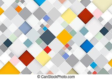 quadrado, coloridos, abstratos, modernos, -, vetorial, retro, fundo