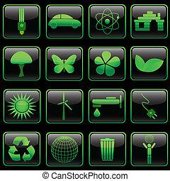 quadrado, eco, botão, jogo, lustroso, eps8