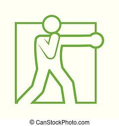quadrado, figura, símbolo, boxe, soco, ilustração, forma, vetorial, desporto