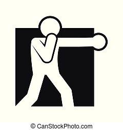 quadrado, figura, símbolo, boxe, soco, ilustração, vetorial, desporto, bloco
