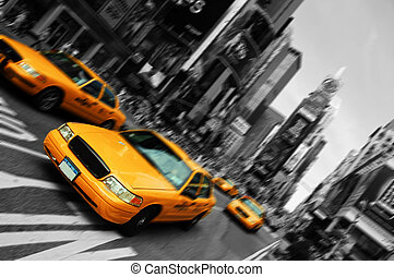 quadrado, movimento, táxi, borrão, cidade, vezes, york, foco, novo