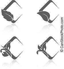 quadrado, natural, ícones, folha, natureza, símbolos, vetorial