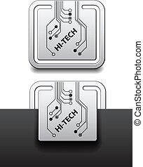 quadrado, olá-tecnologia, etiquetas, anexado, vetorial, tábua, circuito
