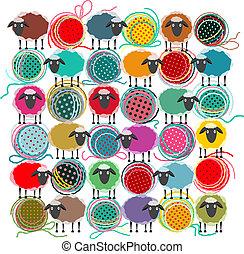 quadrado, tricotando, abstratos, sheep, bolas, fio, composição