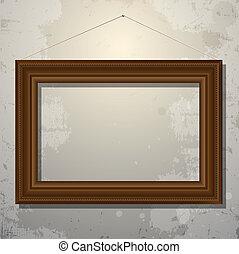 quadro, antigas, frame madeira, parede, vazio
