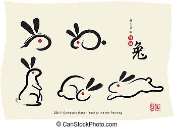 quadro, chinese's, coelho, tinta