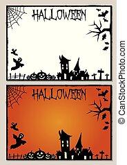 quadro, dia das bruxas, cartão, ilustração, em branco