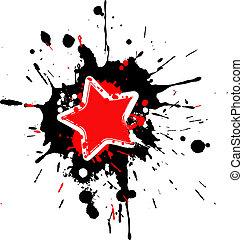 quadro, esguichos, grunge, estrela