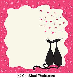 quadro, gatos, amor, dois, retro