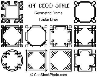 quadro, groundwork, set., decor., simples, painéis, quadrado, habitual, estrutura, esboço, retro, banner., desenho, cobrança, vindima, borda, frames., bordas, elemento