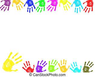 quadro, impressões, mão, coloridos