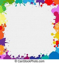 quadro, isolado, blobs, transparente, fundo, coloridos