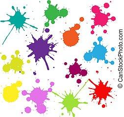 quadro, isolado, branca, blobs, fundo, coloridos
