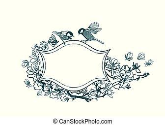 quadro, magnólia, vitoriano, vetorial, fundo, pássaros