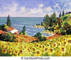 quadro, mar, paisagem