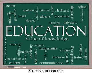 quadro-negro, conceito, palavra, educação, nuvem